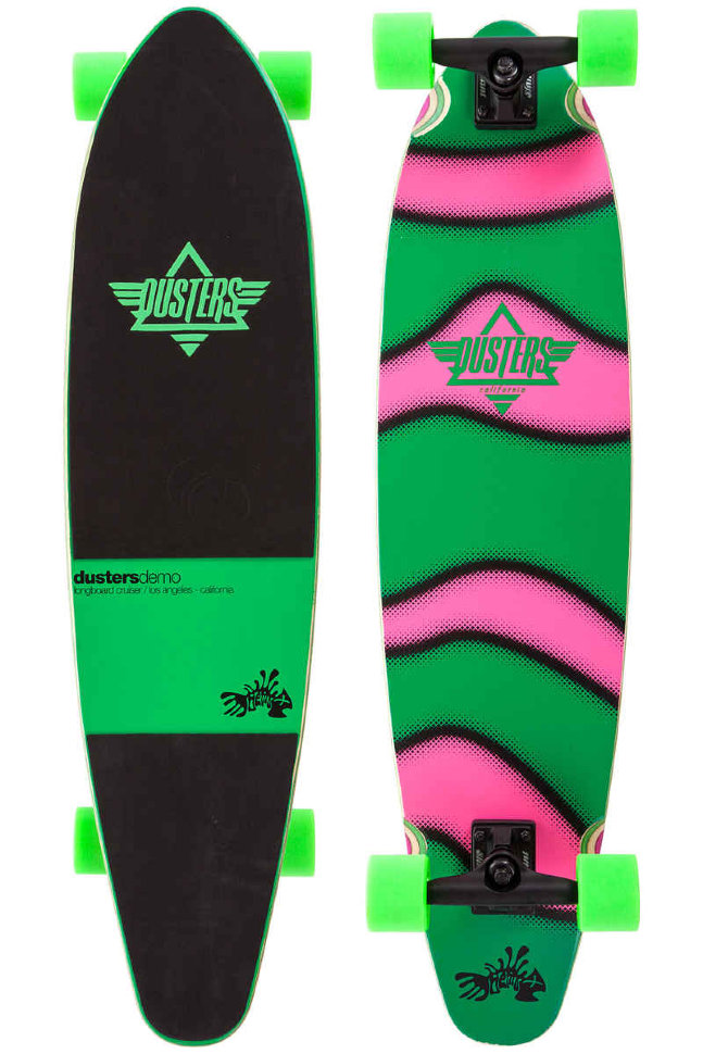 Лонгборд DUSTERS Demo Longboard GITD Green/Pink