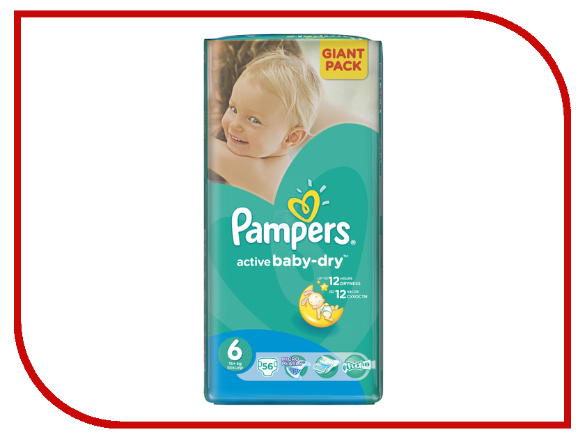 Подгузники Pampers Active Baby-Dry Extra Large 15+кг 56шт 4015400736424