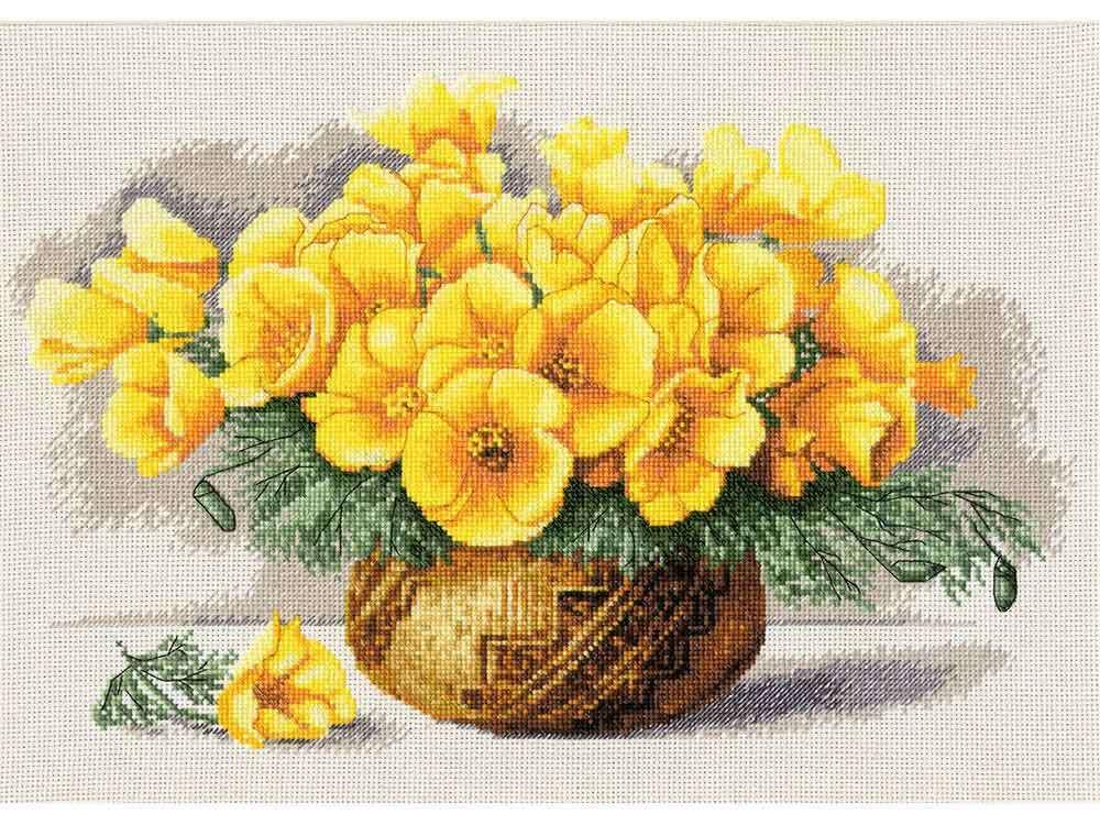 цветы крестом желтые схема вышивки