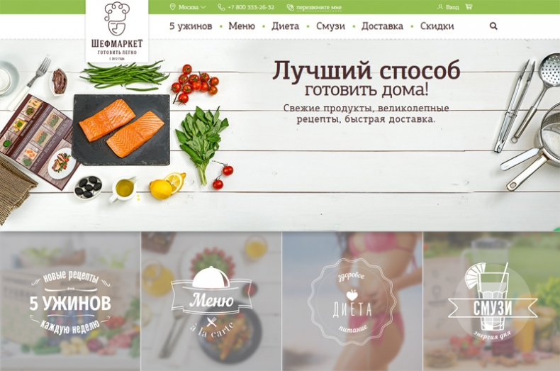 Сайт доставки продуктов с рецептами ШефМаркет