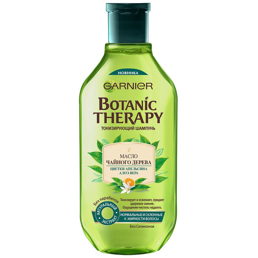 GARNIER Шампунь Botanic Therapy, Масло чайного дерева, цветки апельсина, алоэ вера для нормальных и склонных к жирности волос