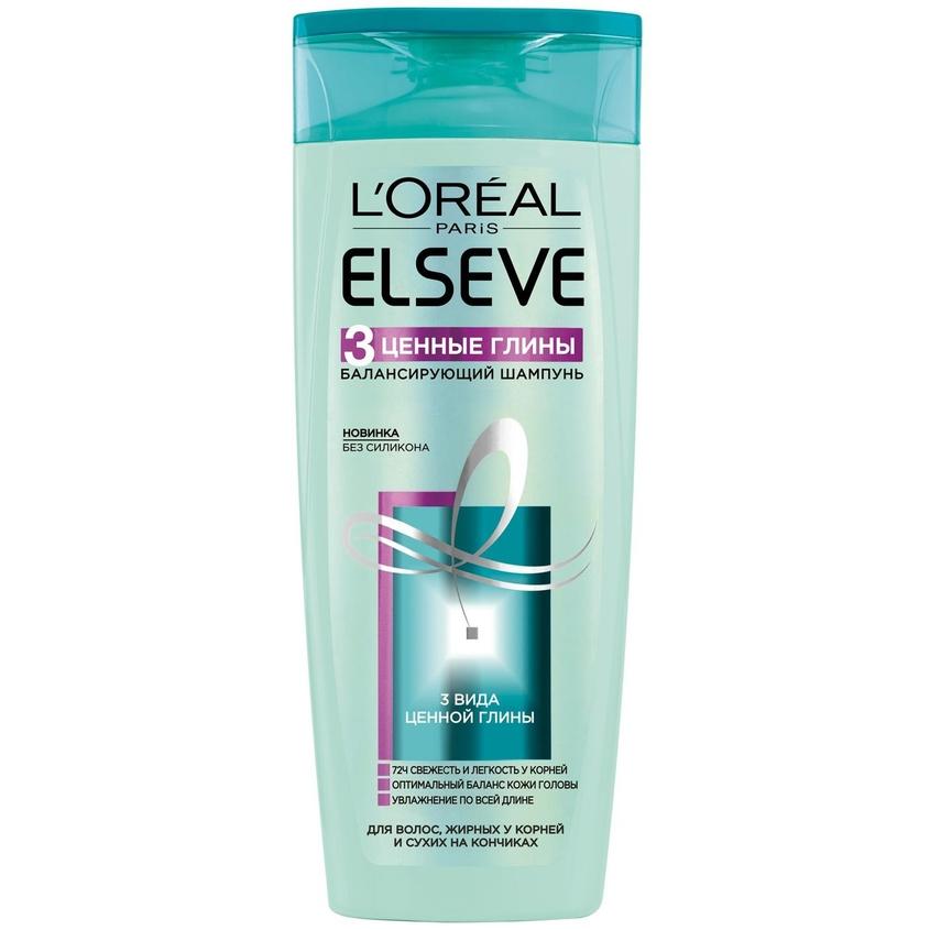 ELSEVE Балансирующий шампунь Эльсев, 3 Ценные Глины, для волос, жирных у корней и сухих на кончиках